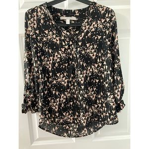 EUC LC Lauren Conrad Button Up Black Heart Blouse